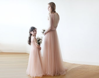 Pink backless maxi tulle gown, Sleeveless Low back bridesmaids tulle dress 1086