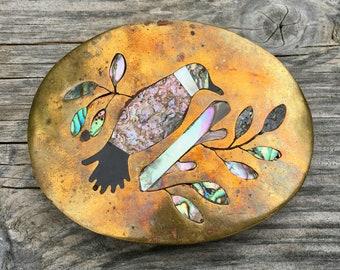 Vintage Abalone Inlay Bird Brass Buckle
