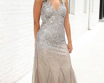 Sequined and beaded Evening Gown