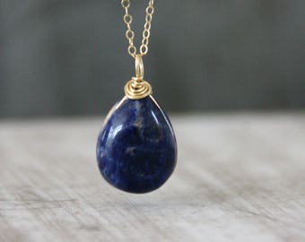 Sodalite Necklace,gold necklace,Gold Sodalite,Healing Crystal Necklace,Boho Jewelry,Spiritual gift,cabochon,Healing stone,gift for mother