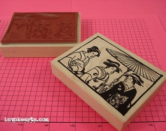 Three Geisha Stamp / Invoke Arts Collage Rubber Stamps