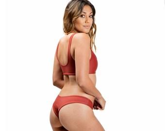 Cheeky High Cut Bikini Bottom - Burnt Sienna - Kaliyan