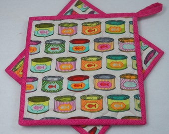 """TWO Tula Pink Cat Food Cans Potholders, 8.5"""" Square, Cat Lover's Potholders, Quilted Potholders, Reversible Potholders, Quilted Mug Rugs"""