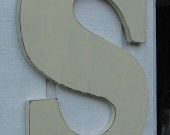 "Wedding Guest book Alternative Large Wooden Wall Letters ""S"" Wedding Gift Wood Letters Rustic Distressed Buttermilk 24 inch tall"