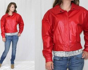 Vintage 80s Chic RED Leather Oversized Short Retro Bomber Club Jacket Coat M
