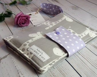 Grey Giraffe & Purple Baby Nappy Wallet, Nappy Clutch