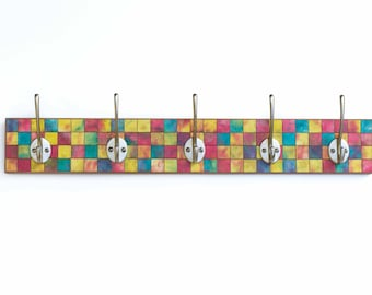 Mosaic Wall Rack, Handmade Paper Coat Rack, Wall Storage, Clothes Hanger, Mosaic Tile Rack, Clothes Hook, Recycled Paper