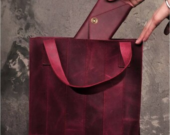Simple tote bag Convertible bag Leather shopping bag Foldover bag  Red leather tote bag Personalized tote bag Leather tote bag