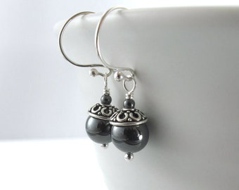 Petite Metallic Hematite Earrings - Round Hematite Beads, Bali Bead Caps, Sterling Silver