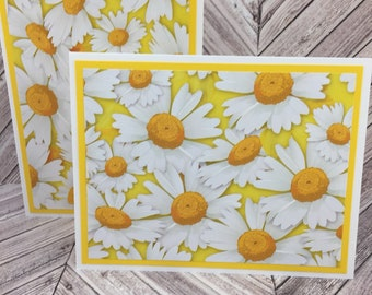 daisy cards, flower cards, daisy note cards, flower note cards, daisy thank you cards,  daisy greeting cards, mother's day, 4 cards