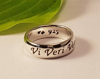 V for Vendetta Ring, Vi Veri Veniversum Vivus Vici, Latin quote, Powerful, 925 sterling silver, Handmade, Unique Gift