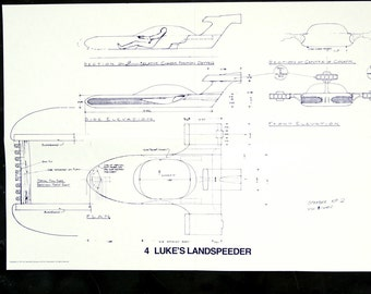 Vintage Star Wars Blueprint for Luke's Landspeeder (4) - Collectible, Home Decor, altered art and more