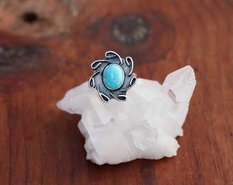 Turquoise Statement Ring // Sterling Silver // Size 6.25