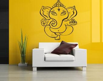 Wall Decal Sticker Indian God Om Elephant Hindu Success Buddha India Ganesha Ganesh Hindu Welfare Bedroom Meditation Yoga Room Decor ZX166