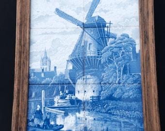 Dutch Delft Blue Tile tableau-' years 60-