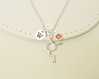 Molecule necklace, Molecular necklace, Dopamine necklace, Chemistry Necklace, Scientist Gift, chemistry gift, Serotonin Charm Necklace