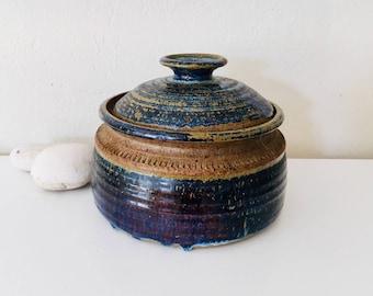 Beach Decor Vintage Porcelain Pot Blue Brown by SEASTYLE