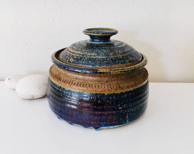 Beach Decor Vintage Porcelain Pot Blue Brown by SEASTYLE