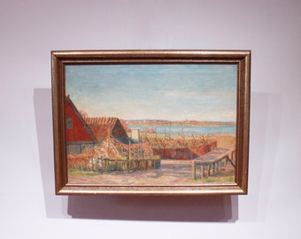 Oil painting with nature motif in warm colors and patinated frame.