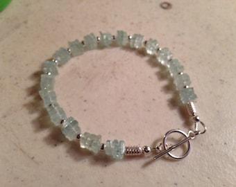 Aquamarine Bracelet - Sterling Silver Jewelry - Blue Gemstone Jewellery - Beaded - Luxe - Chic