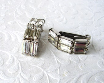 50s Baguette Rhinestone Square Clip Earrings Vintage Costume Jewelry Wedding Bridal Cocktail New Years Prom Wedding Pageant Ballroom Bride