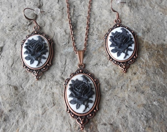 Stunning 2 Piece Copper Set- Black Rose on a Beautiful White Background Cameo Necklace and Earrings Set- Great Quality