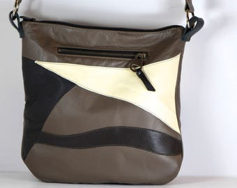 Gorgeous, upcycled taupe, black, white, and brown leather shoulder bag