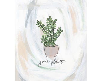 Jade Plant Handpainted and Handlettered Illustration Print