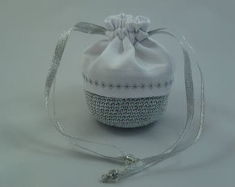 Crochet purse, gray and white embroidered fabric