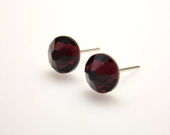 Swarovski Crystal Stud Earrings, Crystal Marsala Earrings, Burgundy Earrings Merlot, Burgundy Stud Earrings, Post Earrings, Bridesmaid Gifts