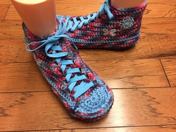 flower crochet slippers flower shoes sneakers butterfly 9 Womens Listing slippers Crocheted 384 slippers sneaker tennis 7 tennis shoes IBPgqP