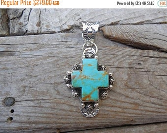 ON SALE Beautiful turquoise cross pendant handmade in sterling silver