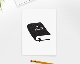 Amore, Book, Flower, Illustration, Digital Download Printable, Image For Wall Decoration, Prints