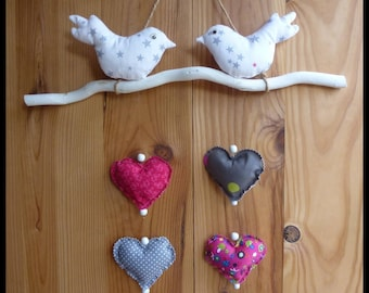 "Mobile wall ""birds and hearts"", single model"