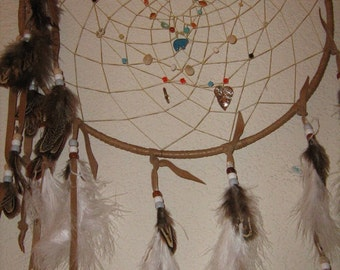Walks On The Wind- Large Dreamcatcher, Native American inspired, handcrafted by the dreamcatcherman,features gems and crystals