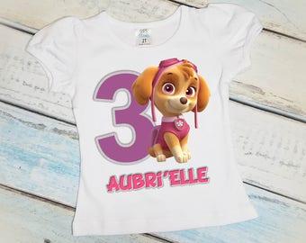 Paw Patrol, Personalized Birthday Shirt, Girls T-Shirt, Any Age, 1st, 2nd, 3rd, 4th, 5th, 6th