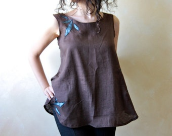 Linen top, linen blouse, tunic top, women top, tank top, long top, brown top, sleeveless top, summer top, women clothes, hippie boho top