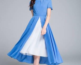 blue dress, white dress, chiffon dress, chiffon dress, prom dress, layered dress, swing dress, party dress, flare dress, womens dresses 1763