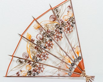 Steampunk Paper Quilled Hand Fan