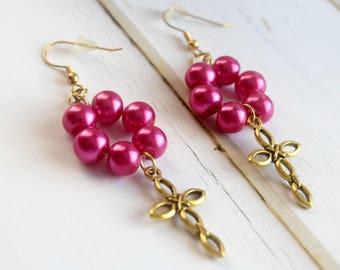 Cross Earrings | Earrings With Cross, Gift-For-Mother, Pink Earrings For Her, Earrings For Best Friend, Beaded Earrings, Gift For Mom