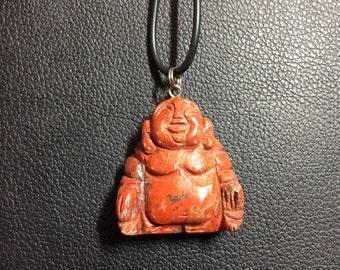 Red Jasper Hand Carved Buddha Gemstone Pendant, 35x32 mm
