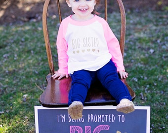 Promoted to Big Sister Chalkboard / Going to Be a Big Sister Sign / Promoted to Big Sister Sign / Baby Number Two Reveal Sign / Digital File