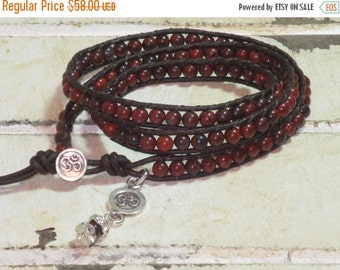 ON SALE Hill Tribe Om Button and Poppy Jasper Gemstone Bead Leather Wrap Bracelet with Charms