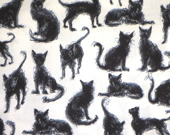 Arty and Fun Black on White Scribble Cats Print Pure Cotton Fabric--By the Yard