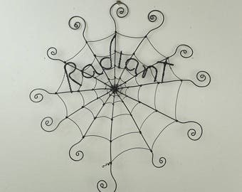 """12"""" Radiant Charlotte's Web Inspired Barbed Wire Spider Web Made to Order"""