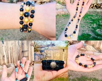Essential Oil Diffuser Bracelets: Bangles, hand-knotted, or wire/wrapped with Lava Rock