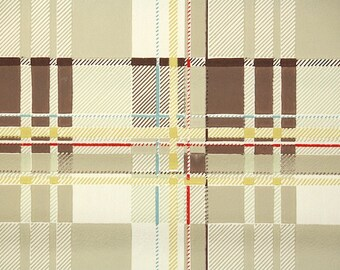 1950s Vintage Wallpaper by the Yard - Plaid Vintage Wallpaper Brown Yellow and Red