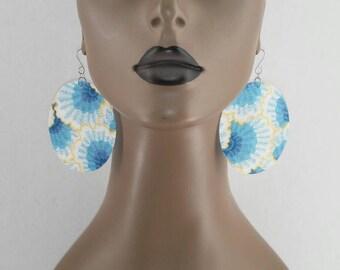 Multi Color Oval Fabric Earrings, Fashion Earrings, Ladies Earrings, Women's Earrings, Fabric Earrings