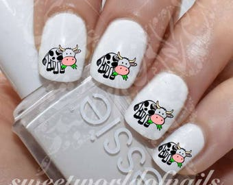 Cow Nail Art Water Decals Transfers Wraps