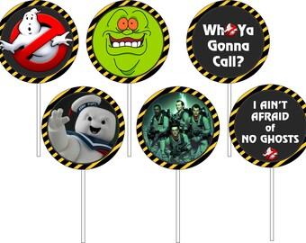 Ghost Busters cupcake toppers, Ghost Busters Party,Ghost Busters Labels/ Топперы для десертов Охотники за привидениями
